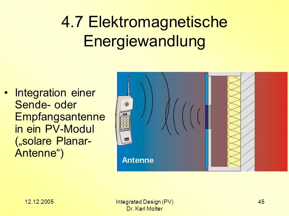 12.12.2005Integrated Design (PV) Dr. Karl Molter 45 4.7 Elektromagnetische Energiewandlung Integration einer Sende- oder Empfangsantenne in ein PV-Mod