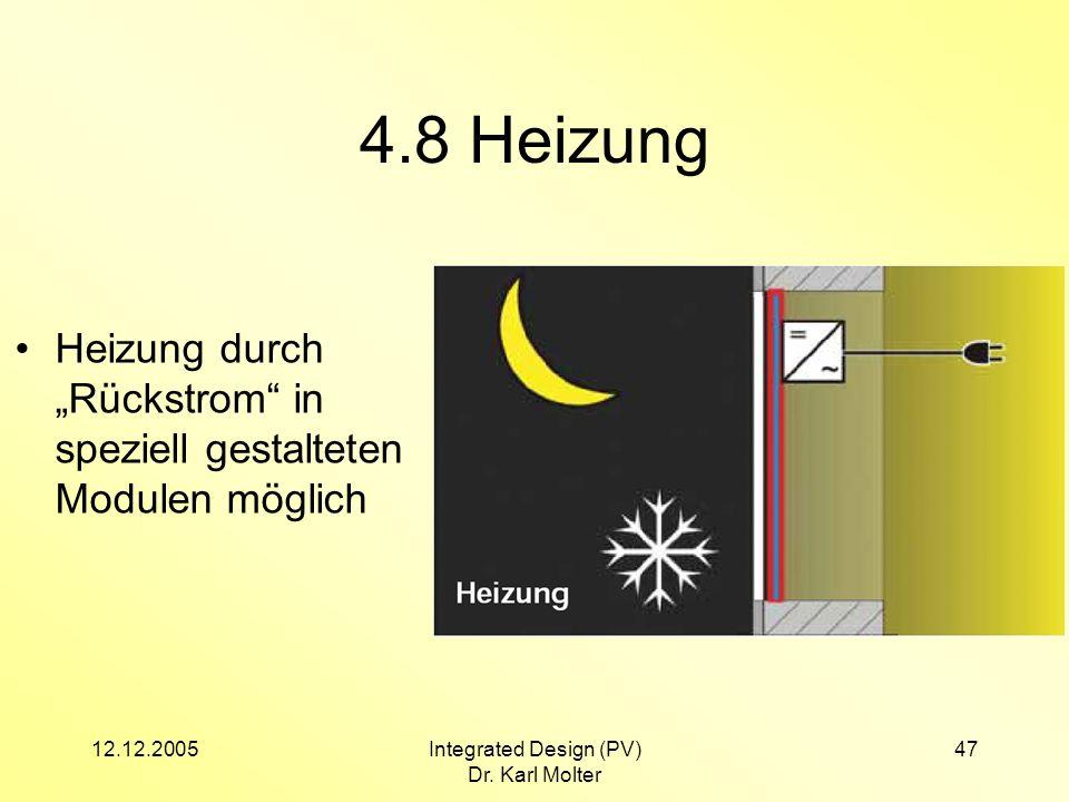 12.12.2005Integrated Design (PV) Dr. Karl Molter 47 4.8 Heizung Heizung durch Rückstrom in speziell gestalteten Modulen möglich