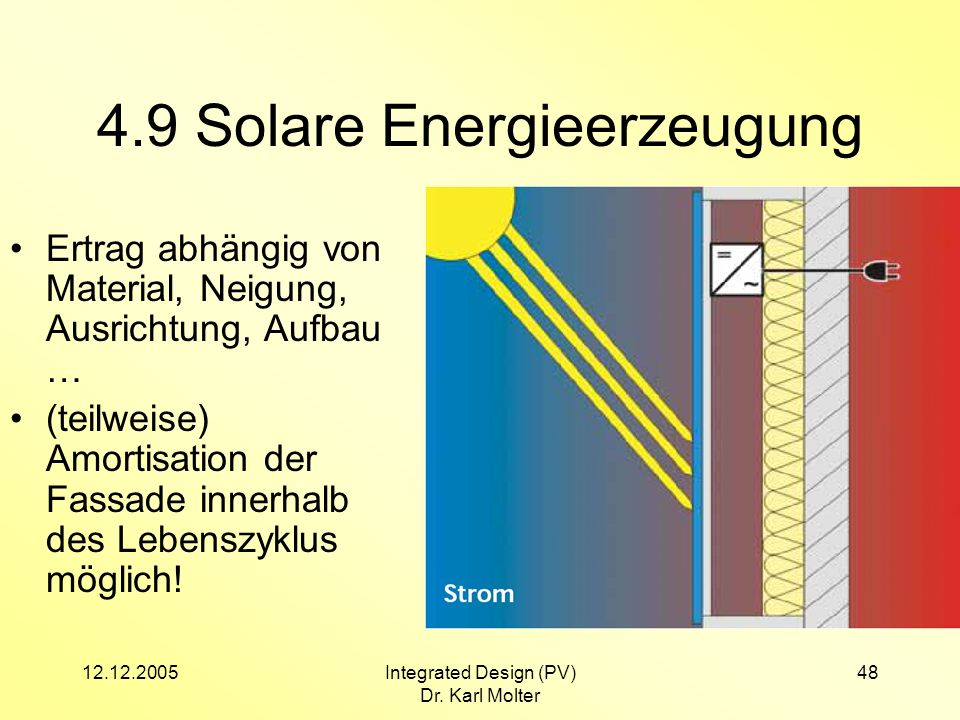 12.12.2005Integrated Design (PV) Dr. Karl Molter 48 4.9 Solare Energieerzeugung Ertrag abhängig von Material, Neigung, Ausrichtung, Aufbau … (teilweis