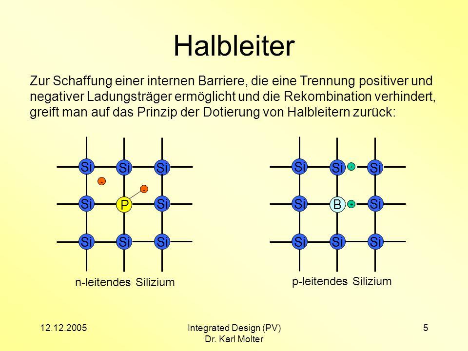 12.12.2005Integrated Design (PV) Dr. Karl Molter 5 Halbleiter Zur Schaffung einer internen Barriere, die eine Trennung positiver und negativer Ladungs