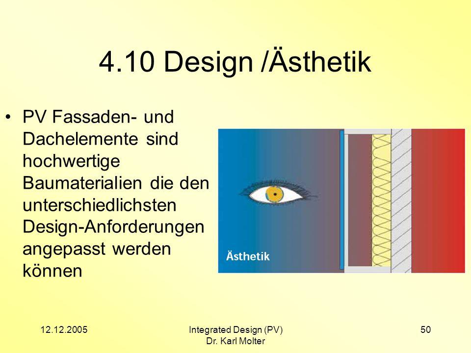 12.12.2005Integrated Design (PV) Dr. Karl Molter 50 4.10 Design /Ästhetik PV Fassaden- und Dachelemente sind hochwertige Baumaterialien die den unters