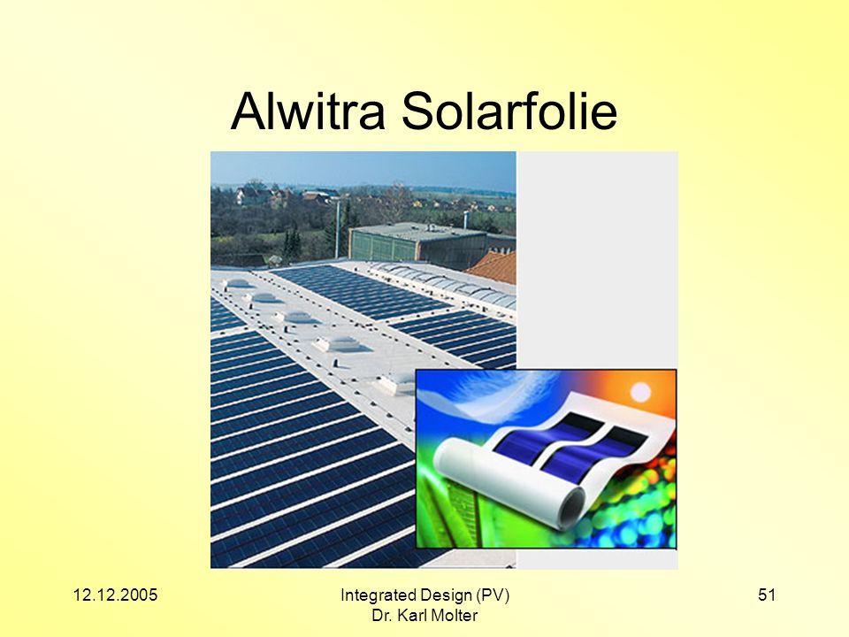 12.12.2005Integrated Design (PV) Dr. Karl Molter 51 Alwitra Solarfolie