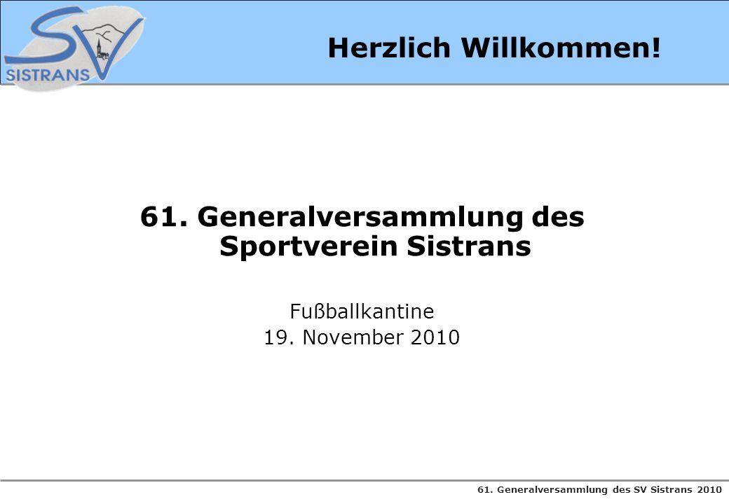 61. Generalversammlung des SV Sistrans 2010 Herzlich Willkommen! 61. Generalversammlung des Sportverein Sistrans Fußballkantine 19. November 2010