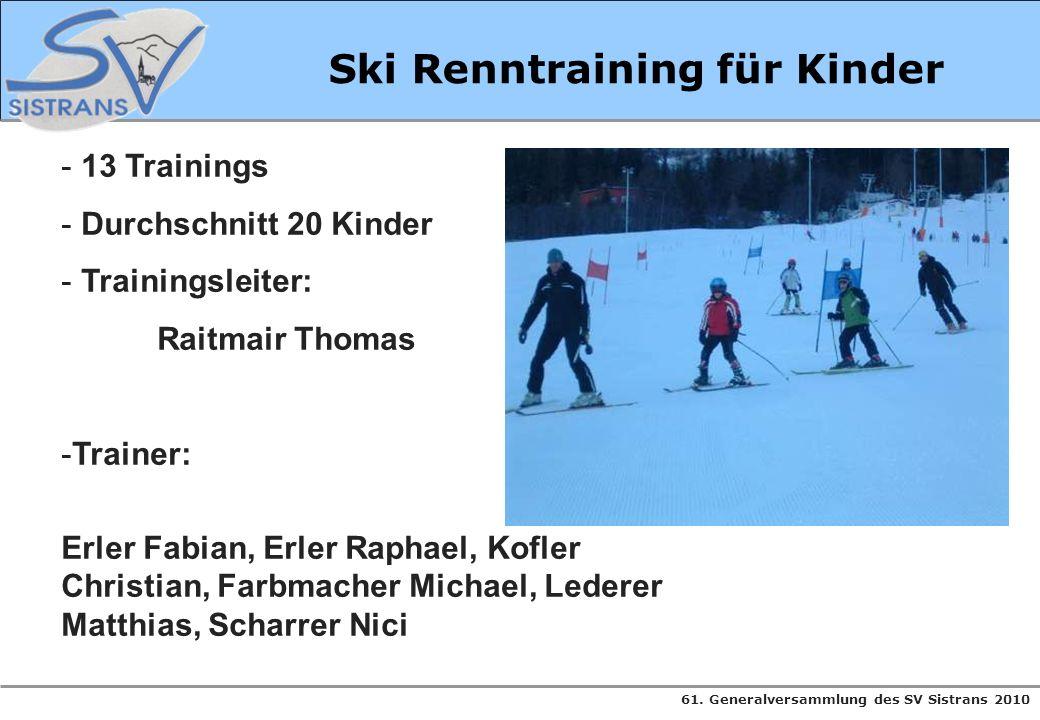 61. Generalversammlung des SV Sistrans 2010 Ski Renntraining für Kinder - 13 Trainings - Durchschnitt 20 Kinder - Trainingsleiter: Raitmair Thomas -Tr