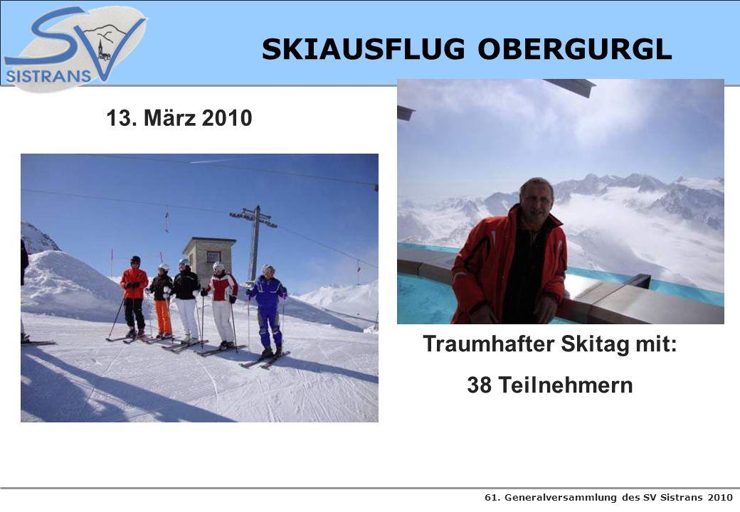 61. Generalversammlung des SV Sistrans 2010 SKIAUSFLUG OBERGURGL 13. März 2010 Traumhafter Skitag mit: 38 Teilnehmern