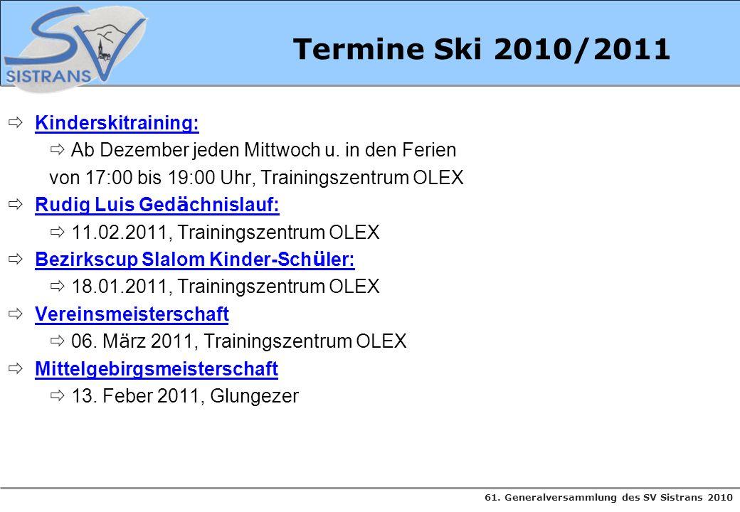 61. Generalversammlung des SV Sistrans 2010 Termine Ski 2010/2011 Kinderskitraining: Ab Dezember jeden Mittwoch u. in den Ferien von 17:00 bis 19:00 U