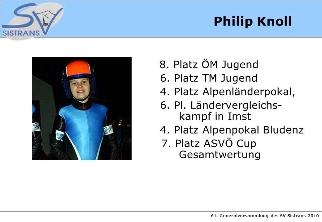 61. Generalversammlung des SV Sistrans 2010 Philip Knoll 8. Platz ÖM Jugend 6. Platz TM Jugend 4. Platz Alpenländerpokal, 6. Pl. Ländervergleichs- kam