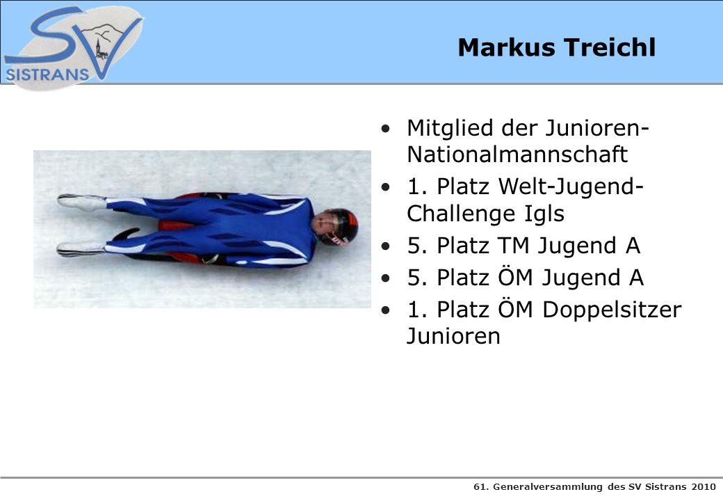 61. Generalversammlung des SV Sistrans 2010 Markus Treichl Mitglied der Junioren- Nationalmannschaft 1. Platz Welt-Jugend- Challenge Igls 5. Platz TM