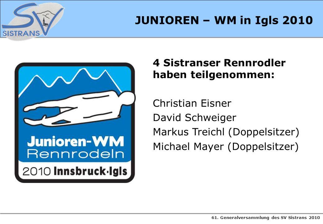 61. Generalversammlung des SV Sistrans 2010 4 Sistranser Rennrodler haben teilgenommen: Christian Eisner David Schweiger Markus Treichl (Doppelsitzer)
