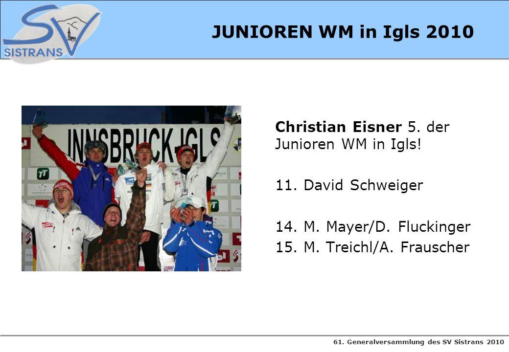 61. Generalversammlung des SV Sistrans 2010 JUNIOREN WM in Igls 2010 Christian Eisner 5. der Junioren WM in Igls! 11. David Schweiger 14. M. Mayer/D.