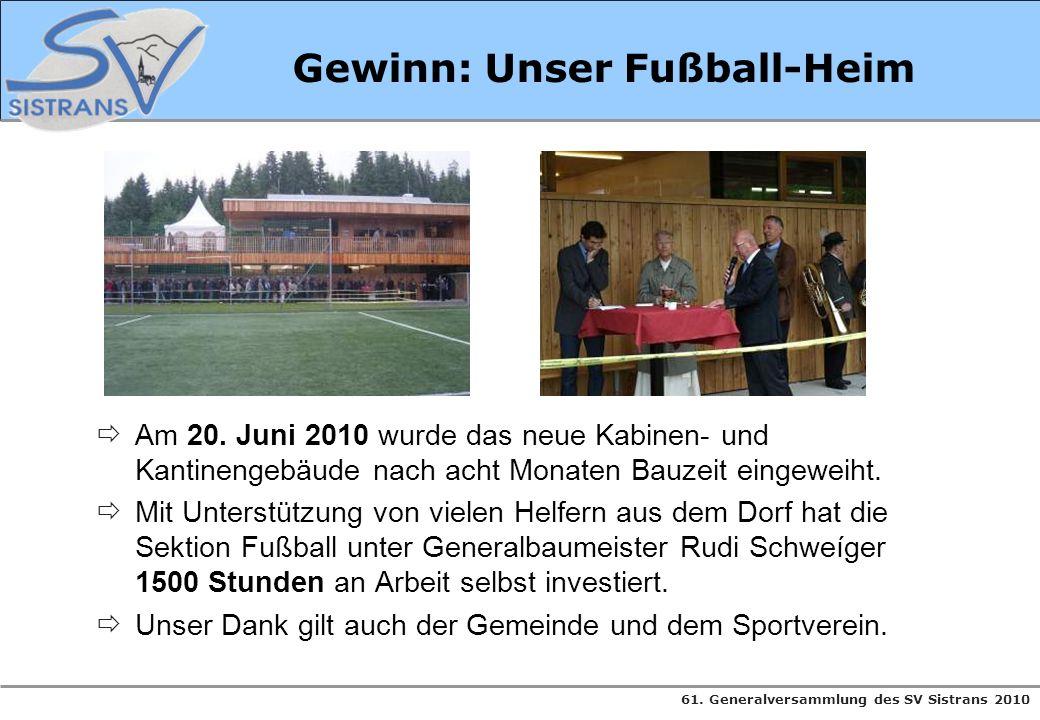 61. Generalversammlung des SV Sistrans 2010 Gewinn: Unser Fußball-Heim Am 20. Juni 2010 wurde das neue Kabinen- und Kantinengebäude nach acht Monaten
