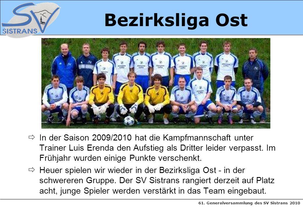 61. Generalversammlung des SV Sistrans 2010 Bezirksliga Ost In der Saison 2009/2010 hat die Kampfmannschaft unter Trainer Luis Erenda den Aufstieg als