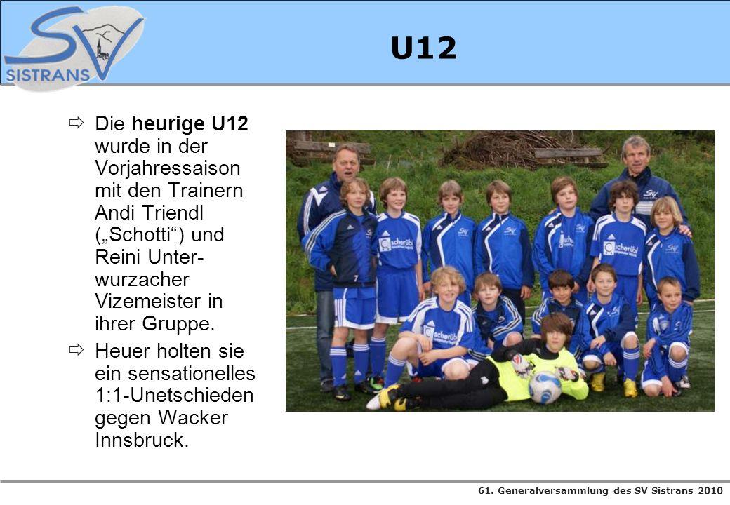 61. Generalversammlung des SV Sistrans 2010 U12 Die heurige U12 wurde in der Vorjahressaison mit den Trainern Andi Triendl (Schotti) und Reini Unter-
