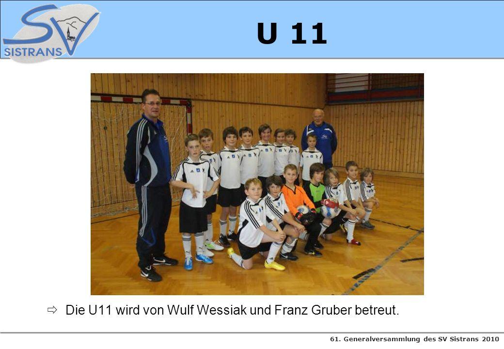 61. Generalversammlung des SV Sistrans 2010 U 11 Die U11 wird von Wulf Wessiak und Franz Gruber betreut.