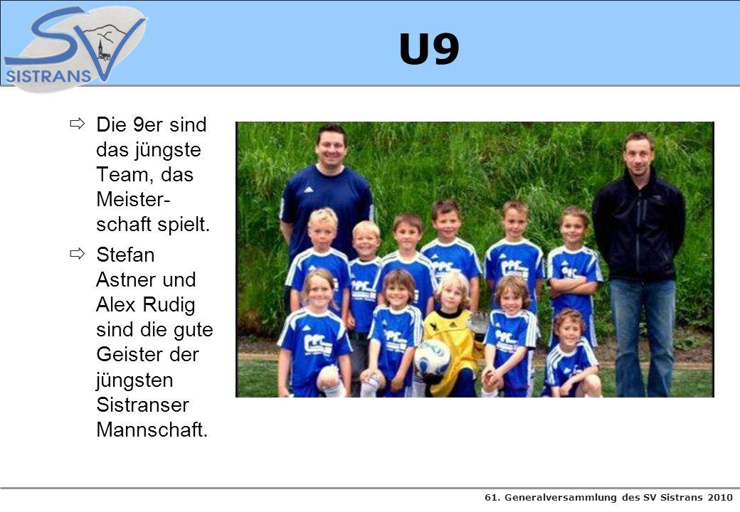 61. Generalversammlung des SV Sistrans 2010 U9 Die 9er sind das jüngste Team, das Meister- schaft spielt. Stefan Astner und Alex Rudig sind die gute G