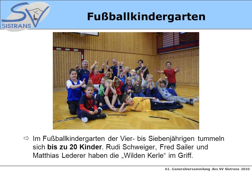 61. Generalversammlung des SV Sistrans 2010 Fußballkindergarten Im Fußballkindergarten der Vier- bis Siebenjährigen tummeln sich bis zu 20 Kinder. Rud