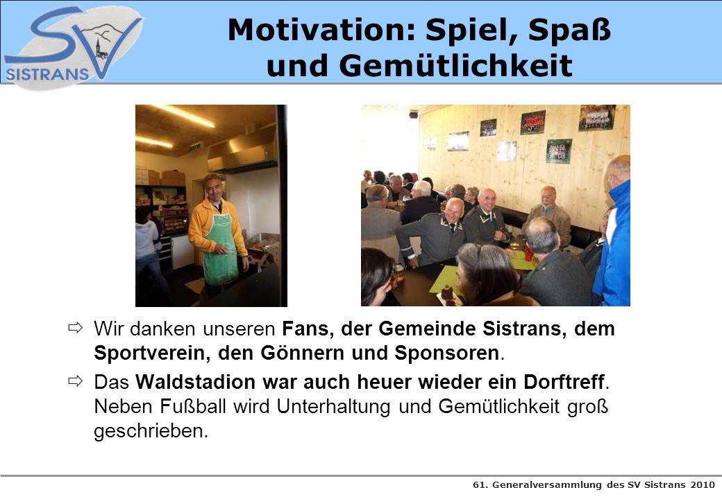 61. Generalversammlung des SV Sistrans 2010 Motivation: Spiel, Spaß und Gemütlichkeit Wir danken unseren Fans, der Gemeinde Sistrans, dem Sportverein,