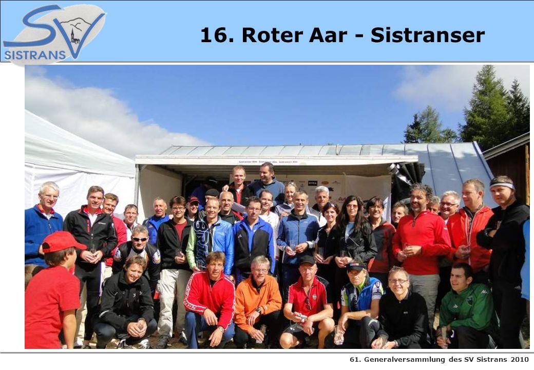 61. Generalversammlung des SV Sistrans 2010 16. Roter Aar - Sistranser