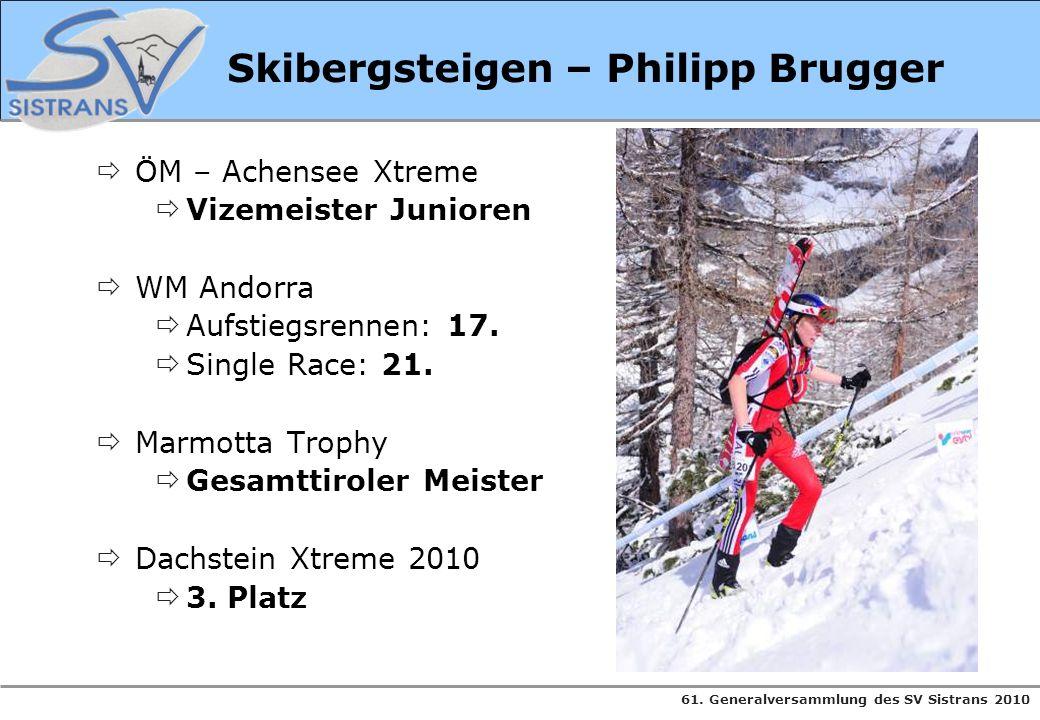 61. Generalversammlung des SV Sistrans 2010 Skibergsteigen – Philipp Brugger ÖM – Achensee Xtreme Vizemeister Junioren WM Andorra Aufstiegsrennen: 17.