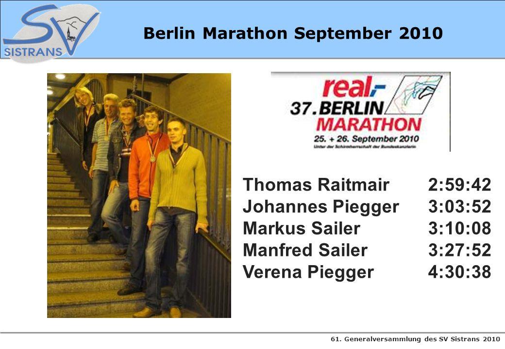 Berlin Marathon September 2010 Thomas Raitmair2:59:42 Johannes Piegger3:03:52 Markus Sailer3:10:08 Manfred Sailer3:27:52 Verena Piegger4:30:38
