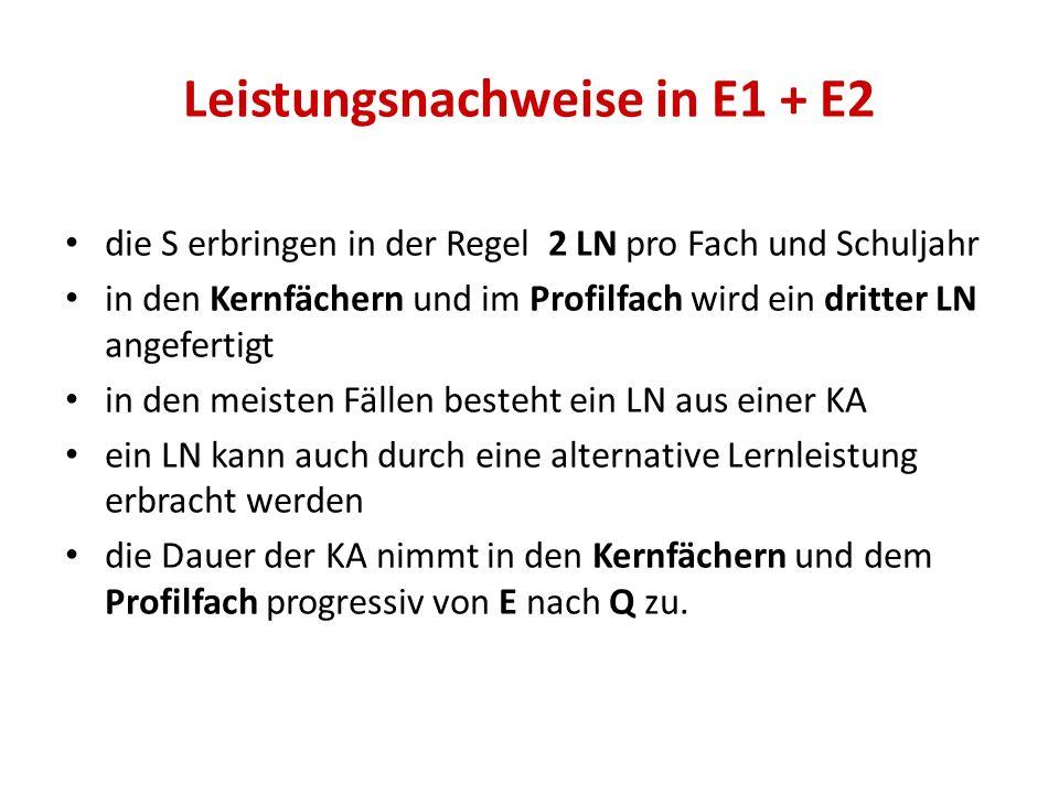 Leistungsnachweise in E1 + E2 die S erbringen in der Regel 2 LN pro Fach und Schuljahr in den Kernfächern und im Profilfach wird ein dritter LN angefe