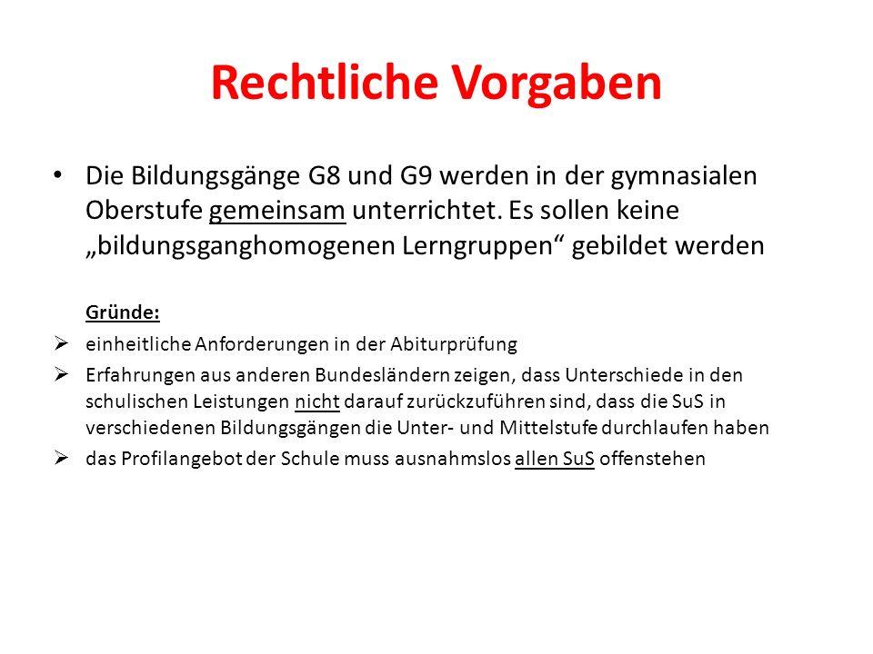 Rechtliche Vorgaben Die Bildungsgänge G8 und G9 werden in der gymnasialen Oberstufe gemeinsam unterrichtet. Es sollen keine bildungsganghomogenen Lern