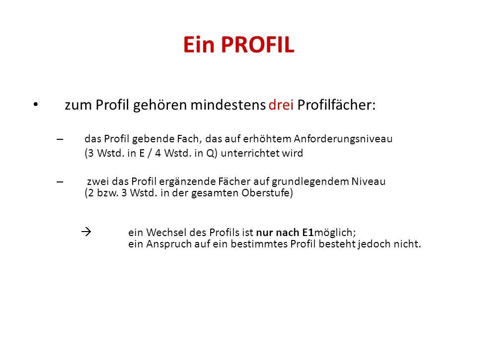 Ein PROFIL zum Profil gehören mindestens drei Profilfächer: – das Profil gebende Fach, das auf erhöhtem Anforderungsniveau (3 Wstd. in E / 4 Wstd. in