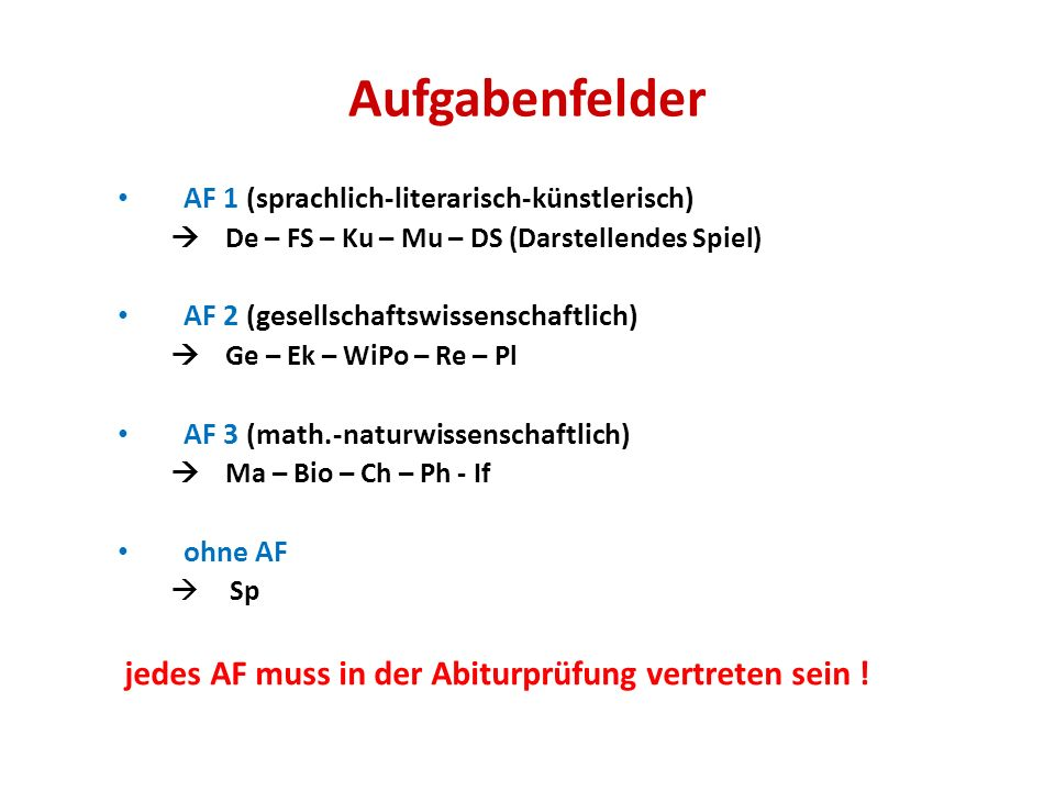 Aufgabenfelder AF 1 (sprachlich-literarisch-künstlerisch) De – FS – Ku – Mu – DS (Darstellendes Spiel) AF 2 (gesellschaftswissenschaftlich) Ge – Ek –