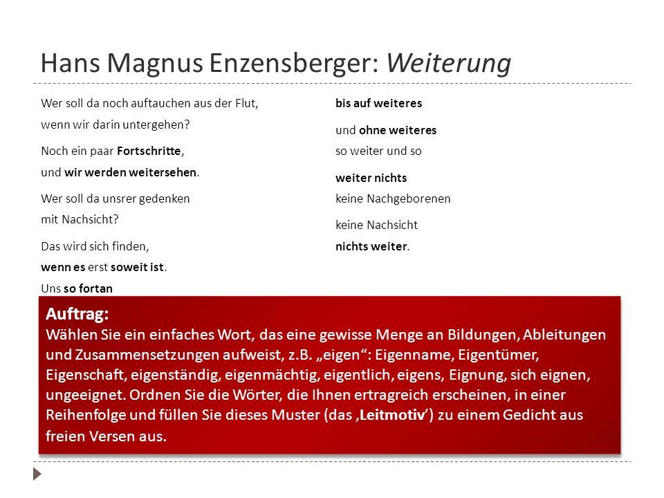 Hans Magnus Enzensberger: Weiterung Wer soll da noch auftauchen aus der Flut, wenn wir darin untergehen? Noch ein paar Fortschritte, und wir werden we