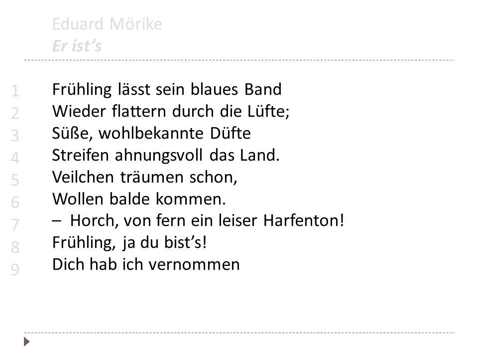 Eduard Mörike Er ists Frühling lässt sein blaues Band Wieder flattern durch die Lüfte; Süße, wohlbekannte Düfte Streifen ahnungsvoll das Land. Veilche