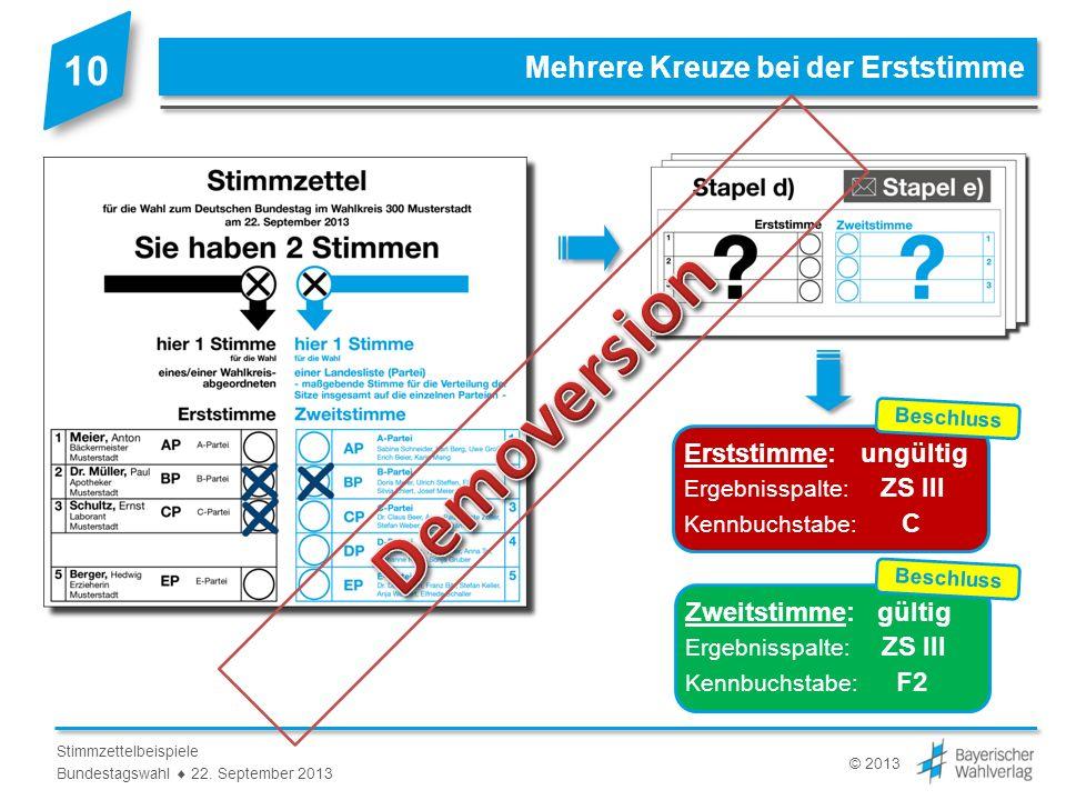 © 2013 Stimmzettelbeispiele Bundestagswahl 22. September 2013 Beschlussvermerk zu Beispiel 10