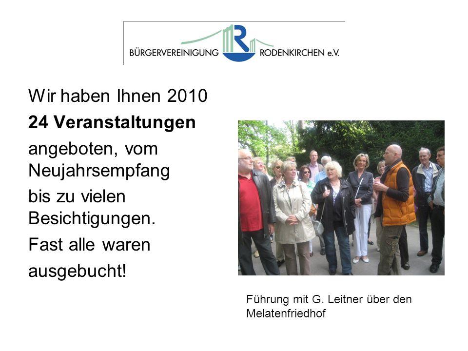 Wir haben Ihnen 2010 24 Veranstaltungen angeboten, vom Neujahrsempfang bis zu vielen Besichtigungen. Fast alle waren ausgebucht! Führung mit G. Leitne