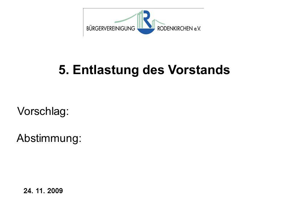 5. Entlastung des Vorstands Vorschlag: Abstimmung: 24. 11. 2009