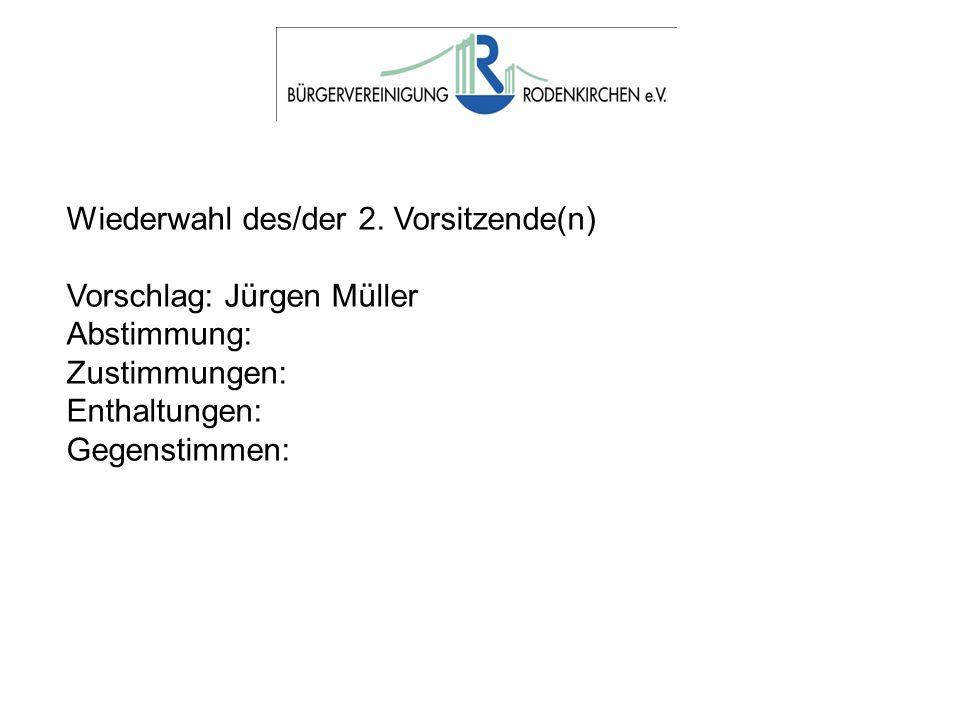 Wiederwahl des/der 2. Vorsitzende(n) Vorschlag: Jürgen Müller Abstimmung: Zustimmungen: Enthaltungen: Gegenstimmen: