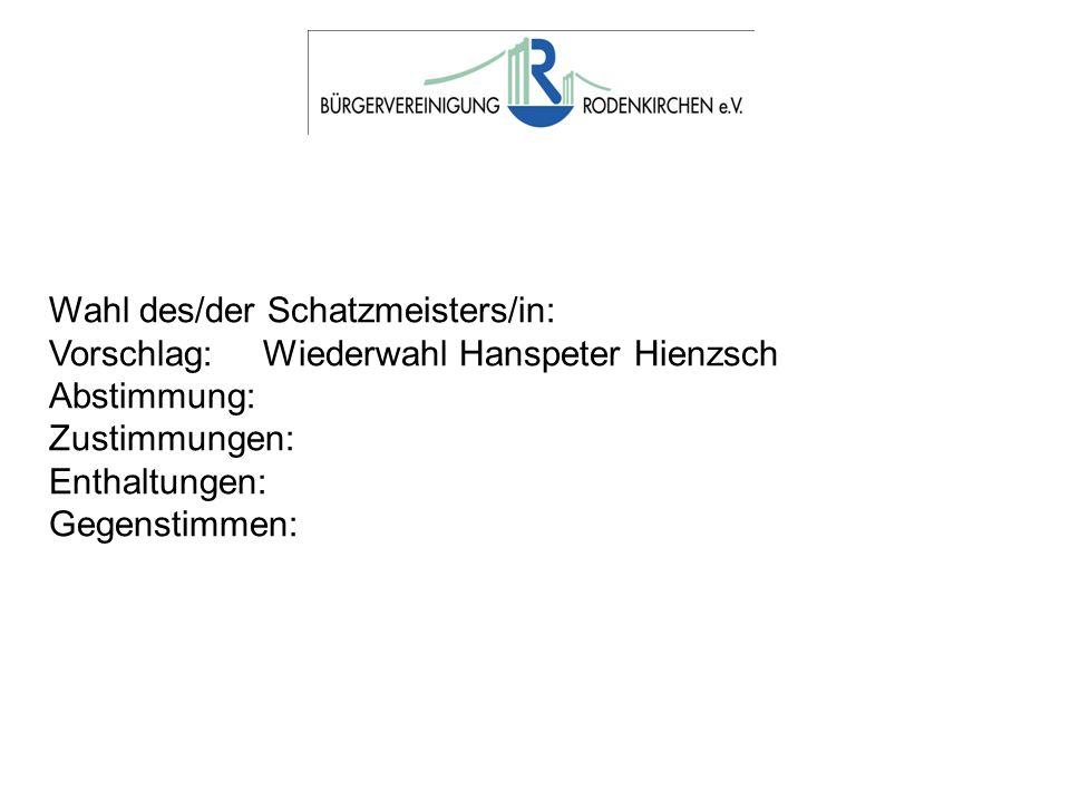 Wahl des/der Schatzmeisters/in: Vorschlag: Wiederwahl Hanspeter Hienzsch Abstimmung: Zustimmungen: Enthaltungen: Gegenstimmen: