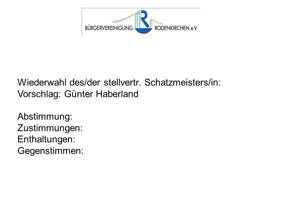 Wiederwahl des/der stellvertr. Schatzmeisters/in: Vorschlag: Günter Haberland Abstimmung: Zustimmungen: Enthaltungen: Gegenstimmen: