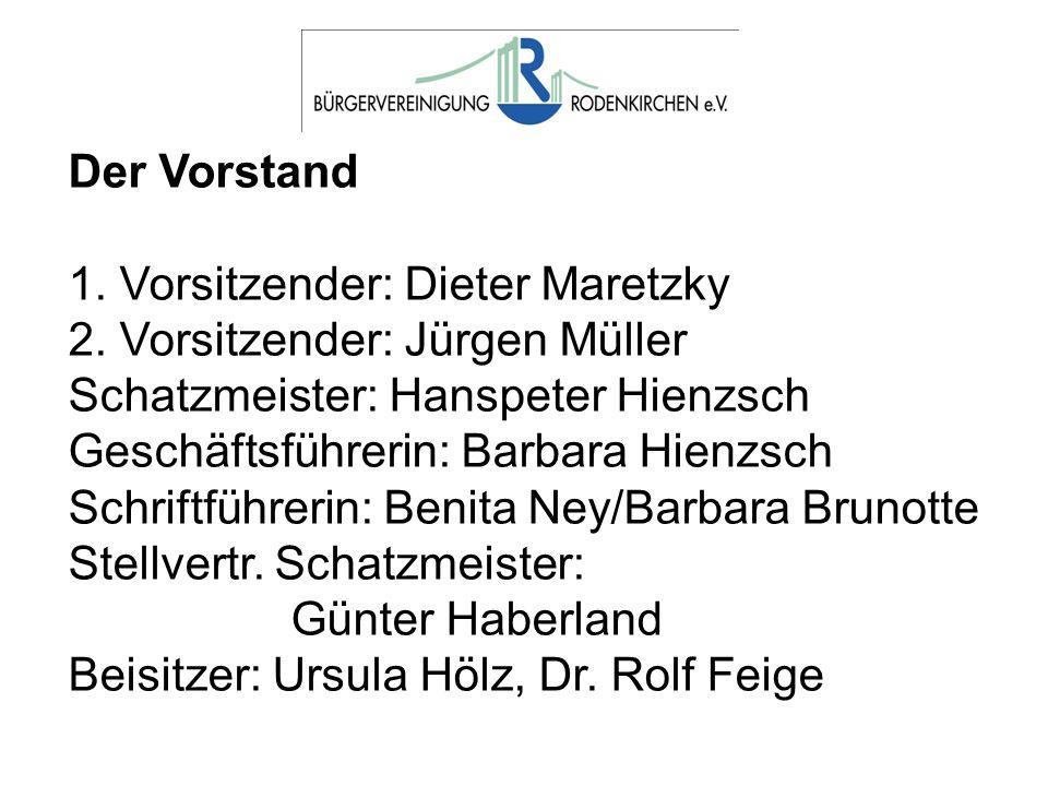 Der Vorstand 1. Vorsitzender: Dieter Maretzky 2. Vorsitzender: Jürgen Müller Schatzmeister: Hanspeter Hienzsch Geschäftsführerin: Barbara Hienzsch Sch