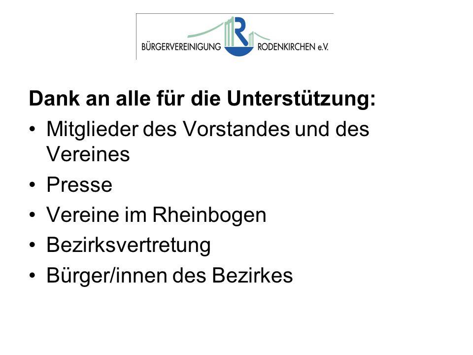 Dank an alle für die Unterstützung: Mitglieder des Vorstandes und des Vereines Presse Vereine im Rheinbogen Bezirksvertretung Bürger/innen des Bezirke