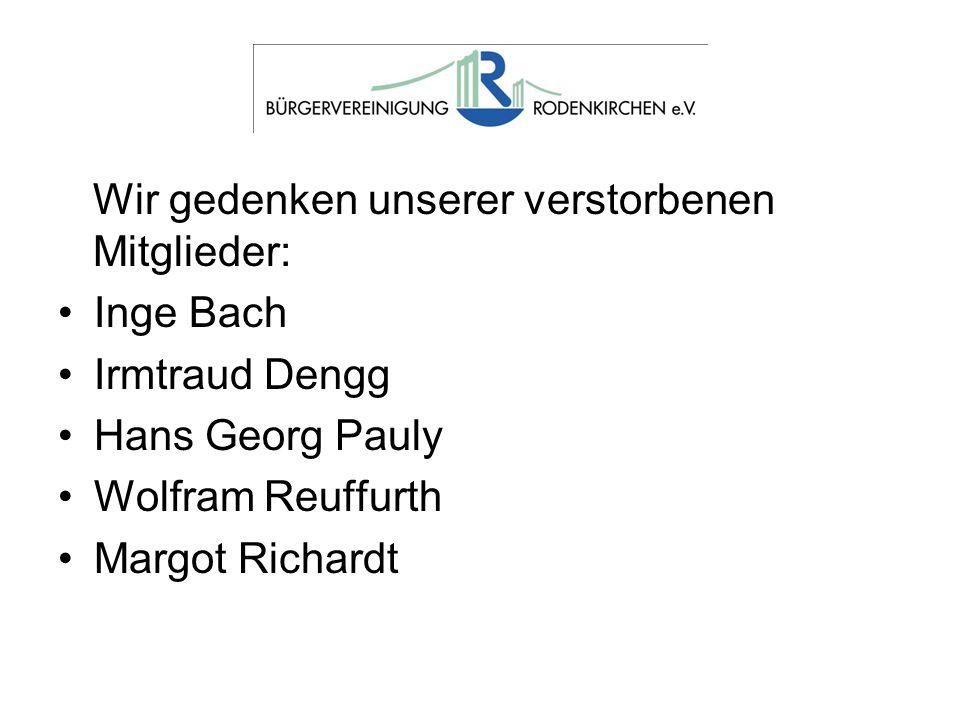 Wir gedenken unserer verstorbenen Mitglieder: Inge Bach Irmtraud Dengg Hans Georg Pauly Wolfram Reuffurth Margot Richardt