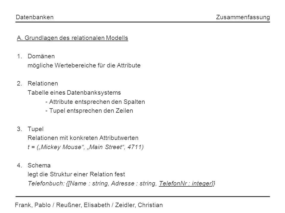 Frank, Pablo / Reußner, Elisabeth / Zeidler, Christian Datenbanken Zusammenfassung A. Grundlagen des relationalen Modells 1.Domänen mögliche Wertebere