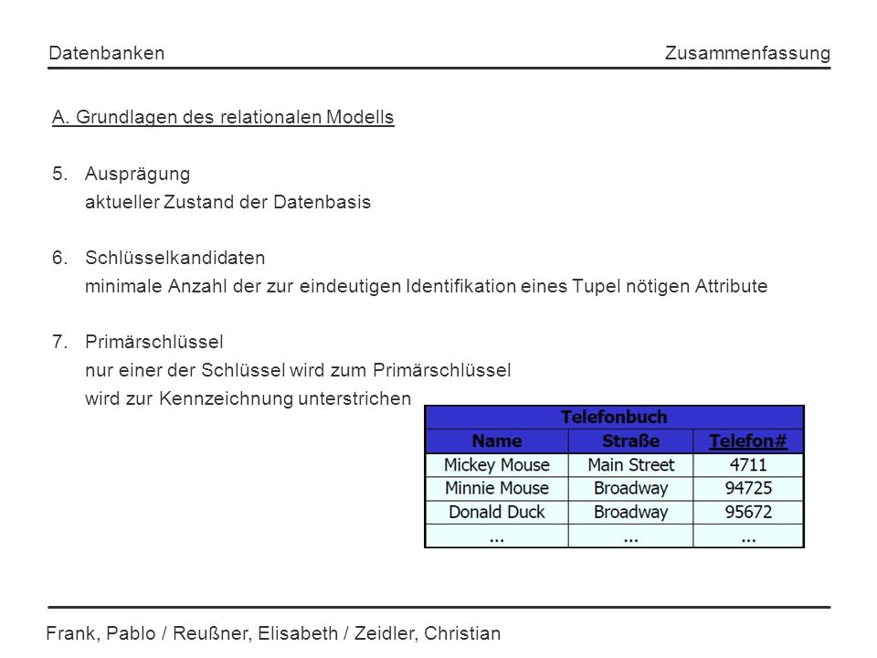Frank, Pablo / Reußner, Elisabeth / Zeidler, Christian Datenbanken Zusammenfassung A. Grundlagen des relationalen Modells 5. Ausprägung aktueller Zust