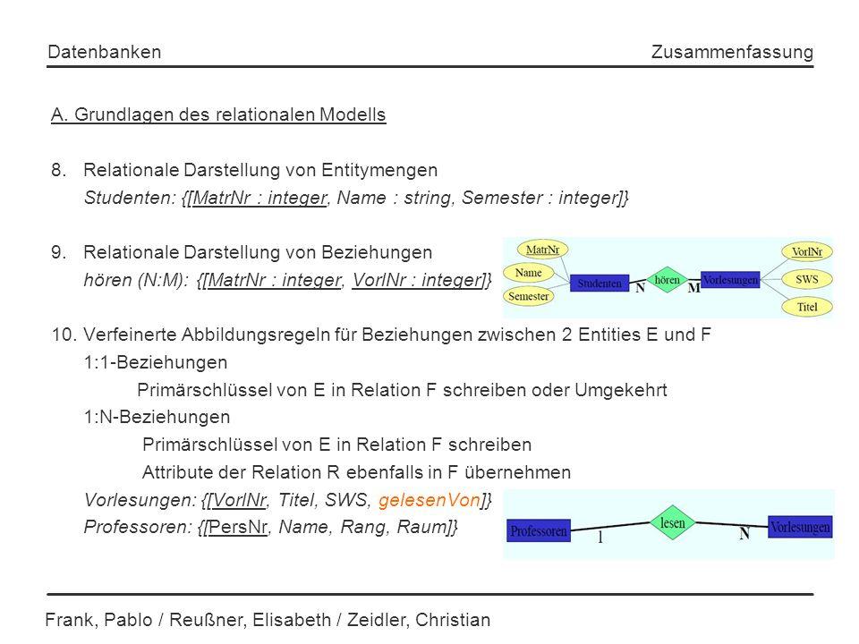Frank, Pablo / Reußner, Elisabeth / Zeidler, Christian Datenbanken Zusammenfassung A. Grundlagen des relationalen Modells 8. Relationale Darstellung v