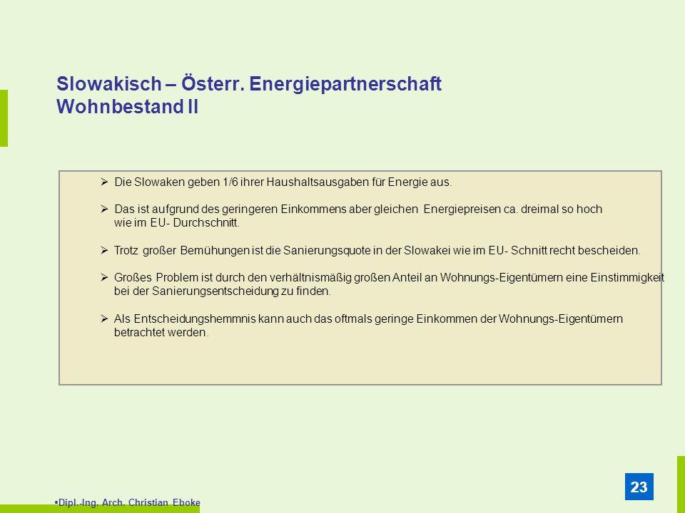 Dipl.-Ing. Arch. Christian Eboke 23 Slowakisch – Österr. Energiepartnerschaft Wohnbestand II Die Slowaken geben 1/6 ihrer Haushaltsausgaben für Energi