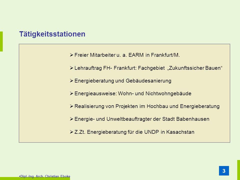 Dipl.-Ing. Arch. Christian Eboke 33 Tätigkeitsstationen Freier Mitarbeiter u. a. EARM in Frankfurt/M. Lehrauftrag FH- Frankfurt: Fachgebiet Zukunftssi