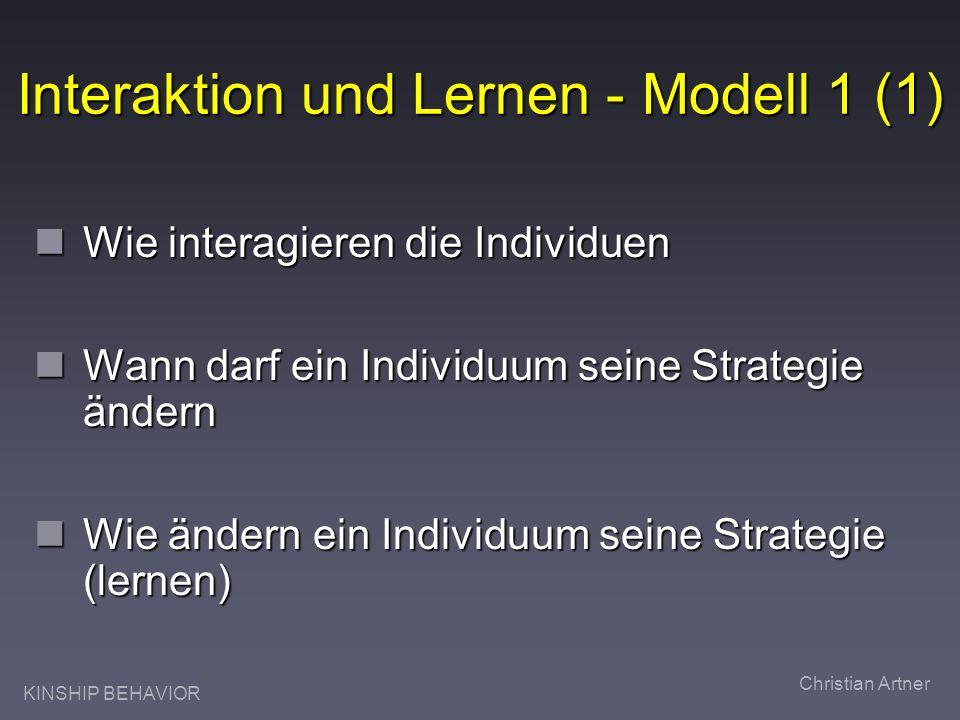 KINSHIP BEHAVIOR Christian Artner Interaktion und Lernen - Modell 1 (1) Wie interagieren die Individuen Wie interagieren die Individuen Wann darf ein Individuum seine Strategie ändern Wann darf ein Individuum seine Strategie ändern Wie ändern ein Individuum seine Strategie (lernen) Wie ändern ein Individuum seine Strategie (lernen)