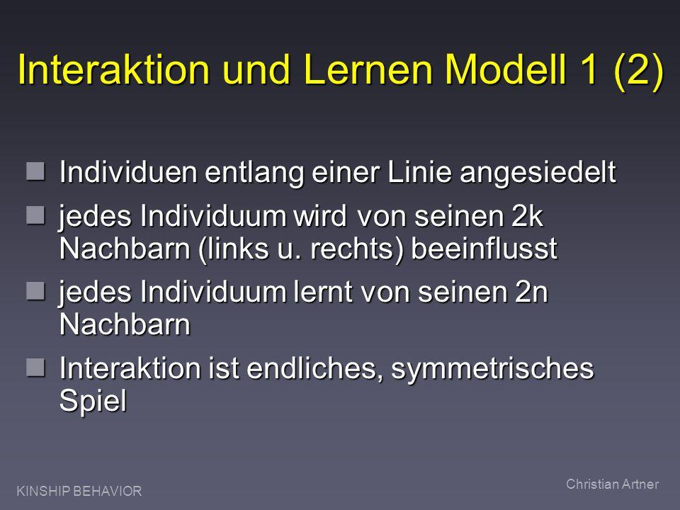 KINSHIP BEHAVIOR Christian Artner Interaktion und Lernen Modell 1 (2) Individuen entlang einer Linie angesiedelt Individuen entlang einer Linie angesi