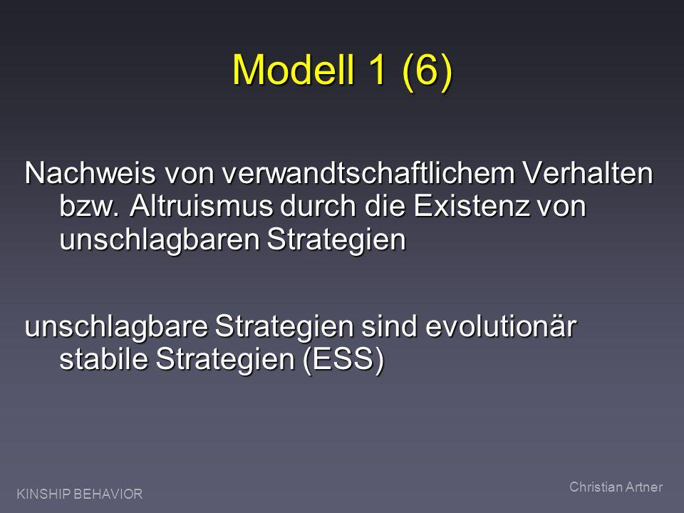 KINSHIP BEHAVIOR Christian Artner Modell 1 (6) Nachweis von verwandtschaftlichem Verhalten bzw. Altruismus durch die Existenz von unschlagbaren Strate