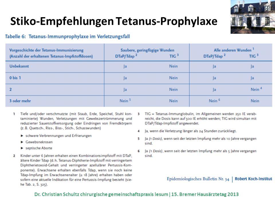 Stiko-Empfehlungen Tetanus-Prophylaxe Dr. Christian Schultz chirurgische gemeinschaftspraxis lesum 15. Bremer Hausärztetag 2013