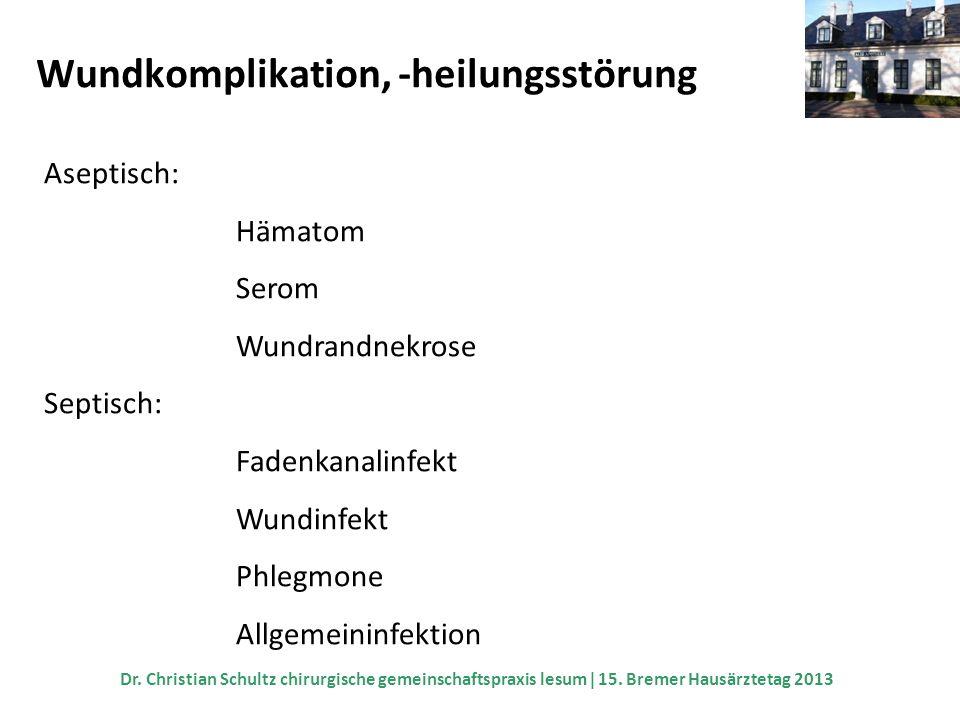 Wundkomplikation, -heilungsstörung Aseptisch: Hämatom Serom Wundrandnekrose Septisch: Fadenkanalinfekt Wundinfekt Phlegmone Allgemeininfektion Dr. Chr
