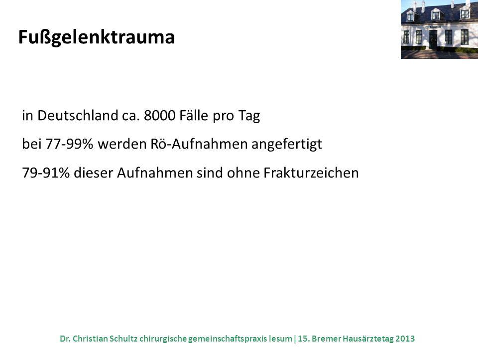 Fußgelenktrauma in Deutschland ca. 8000 Fälle pro Tag bei 77-99% werden Rö-Aufnahmen angefertigt 79-91% dieser Aufnahmen sind ohne Frakturzeichen Dr.